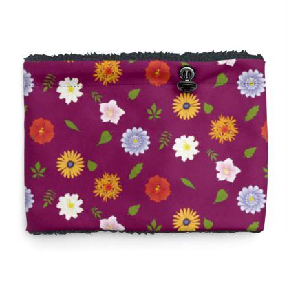 Snood Sherpa Scaf - Floral Pattern in Dark Purple
