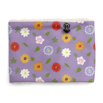Snood Sherpa Scaf - Floral Pattern in Pastel Violet