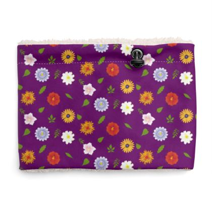 Snood Sherpa Scaf - Floral Pattern in Purple
