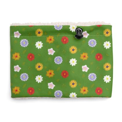 Snood Sherpa Scaf - Floral Pattern in Bright Green