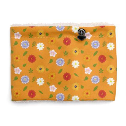 Snood Sherpa Scaf - Floral Pattern in Orange