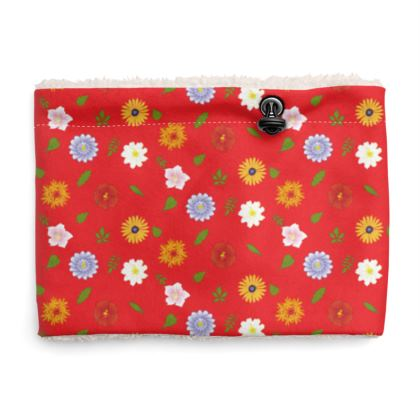 Snood Sherpa Scaf - Floral Pattern in Red