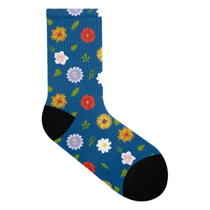 Socks - Flowers Blue