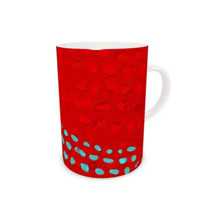 Textural Collection in red and turquoise Bone China Mug