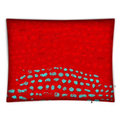 Textural Collection in red and turquoise Floor Cushions