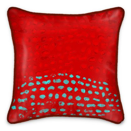 Textural Collection in red and turquoise Silk Cushions