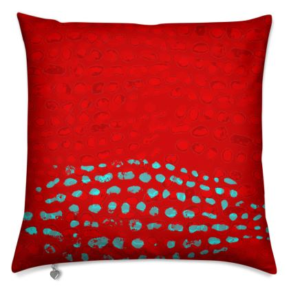 Textural Collection in red and turquoise Cushions