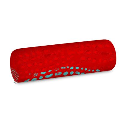 Textural Collection in red and turquoise Big Bolster Cushion