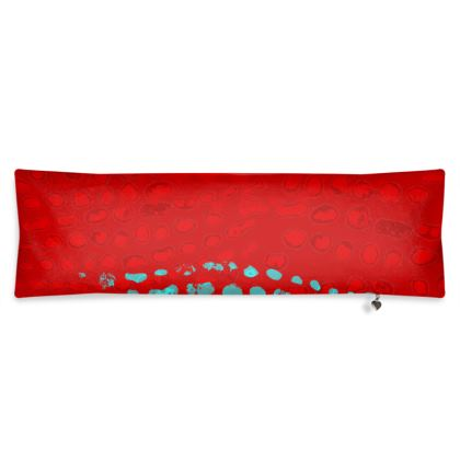 Textural Collection in red and turquoise Bolster Cushion