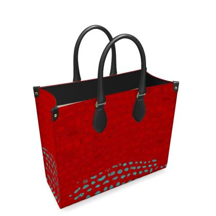 Textural Collection in red and turquoise Leather Shopper Bag