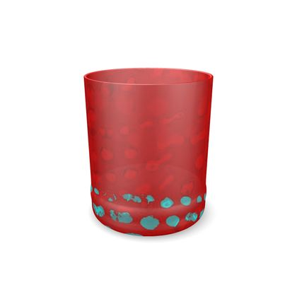 Textural Collection in red and turquoise Whisky Glass