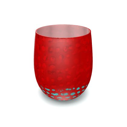 Textural Collection in red and turquoise Water Glass