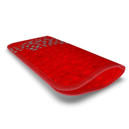 Textural Collection in red and turquoise Leather Glasses Case