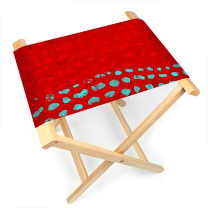 Textural Collection in red and turquoise Folding Stool Chair