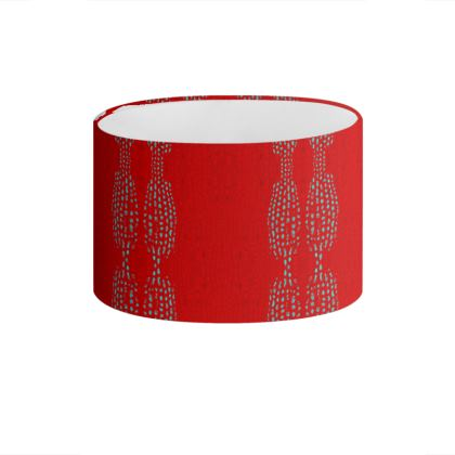 Textural Collection in red and turquoise Drum Lamp Shade