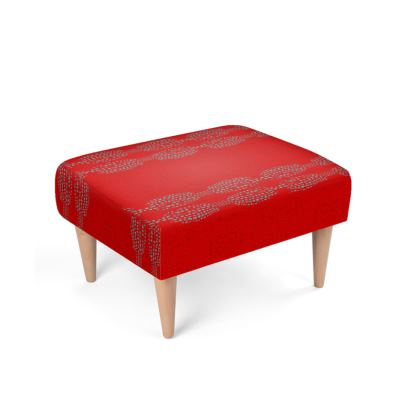 Textural Collection in red and turquoise Footstool