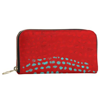 Textural Collection in red and turquoise Leather Zip Purse