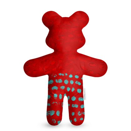 Textural Collection in red and turquoise Teddy Bear