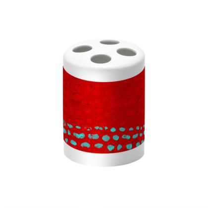 Textural Collection in red and turquoise Toothbrush Holder