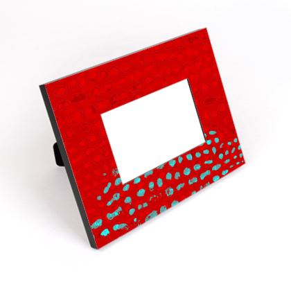Textural Collection in red and turquoise Cut-Out Frame