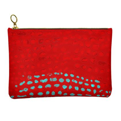 Textural Collection in red and turquoise Leather Clutch Bag