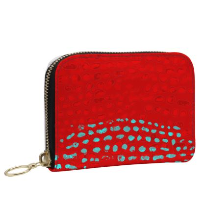 Textural Collection in red and turquoise Small Leather Zip Purse