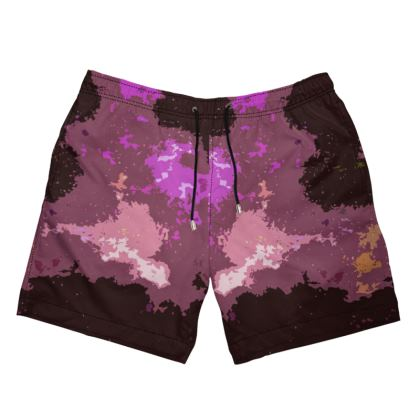 Men's Swimming Shorts - Pink Ion Storm Abstract