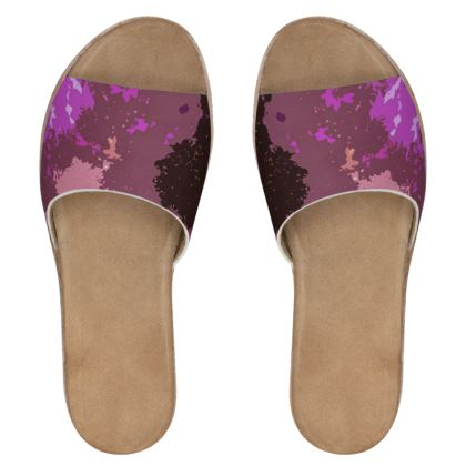Women's Leather Sliders - Pink Ion Storm Abstract