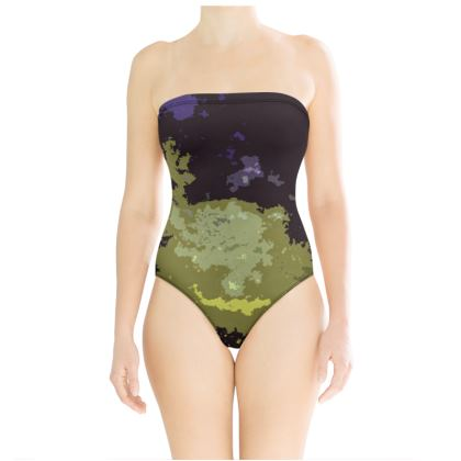 Strapless Swimsuit - Space Explosion Abstract