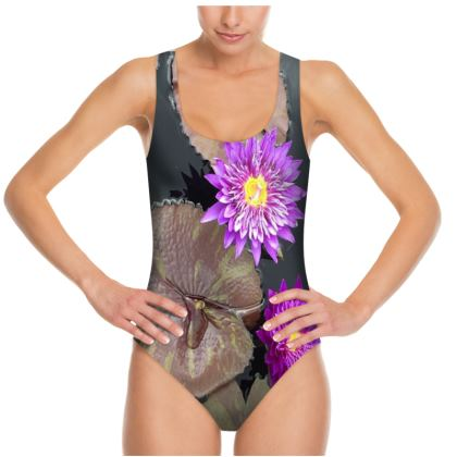 Photo Swimsuit - Purple Waterlily