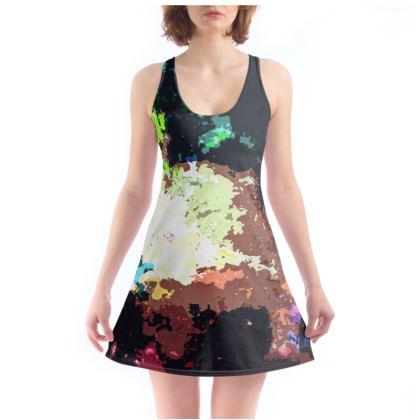 Beach Dress - Green Flame Creature Abstract