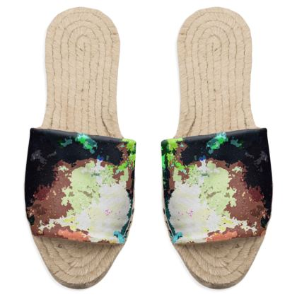 Sandal Espadrilles - Green Flame Creature Abstract