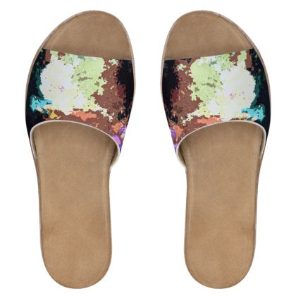 Women's Leather Sliders - Green Flame Creature Abstract