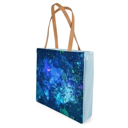 Beach Bag - Blue Nebula Galaxy Abstract