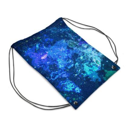 Swim Bag - Blue Nebula Galaxy Abstract