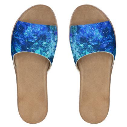 Women's Leather Sliders - Blue Nebula Galaxy Abstract