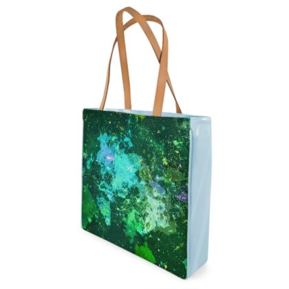 Beach Bag - Jade Nebula Galaxy Abstract