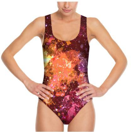Swimsuit - Orange Nebula Galaxy Abstract
