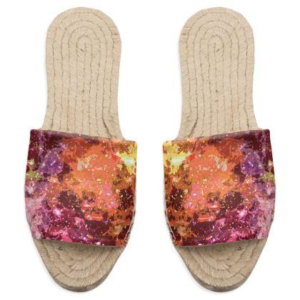 Sandal Espadrilles - Orange Nebula Galaxy Abstract