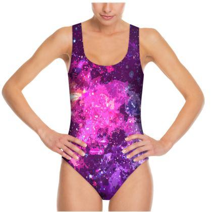 Swimsuit - Pink Nebula Galaxy Abstract