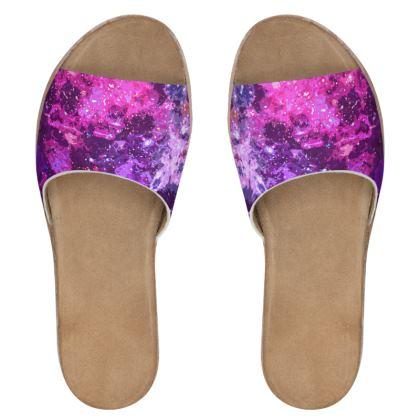 Women's Leather Sliders - Pink Nebula Galaxy Abstract