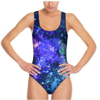 Swimsuit - Purple Nebula Galaxy Abstract