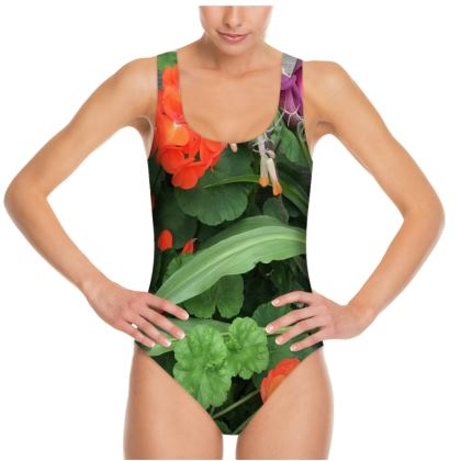 Photo Swimsuit - Orange Geraniums