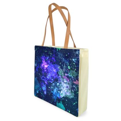 Beach Bag - Purple Nebula Galaxy Abstract