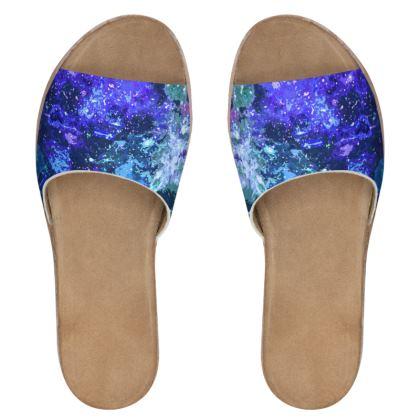Women's Leather Sliders - Purple Nebula Galaxy Abstract