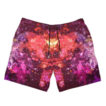 Men's Swimming Shorts - Red Nebula Galaxy Abstract