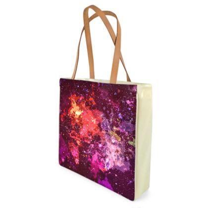 Beach Bag - Red Nebula Galaxy Abstract