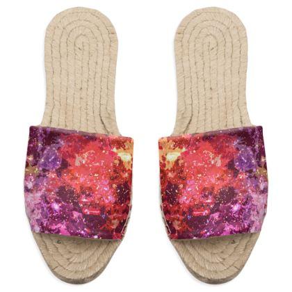 Sandal Espadrilles - Red Nebula Galaxy Abstract