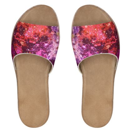 Women's Leather Sliders - Red Nebula Galaxy Abstract