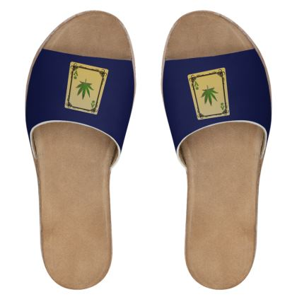 Women's Leather Sliders - Ace of Weed
